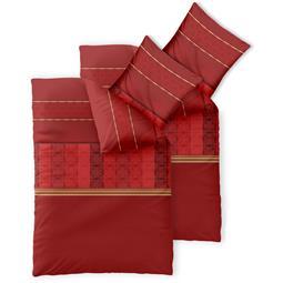 Bettwäsche Garnitur 135x200 Baumwolle Reißverschluss 4 teilig Fashion Susan rot