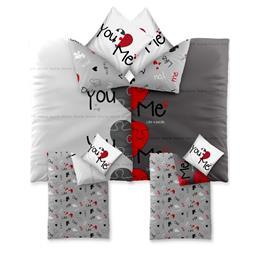 CelinaTex Bettwäsche Garnitur 135x200 Baumwolle Reißverschluss 4 teilig Fashion Du&Ich weiß rot schwarz Herzen - Wendedesign