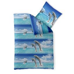 Bettwäsche Garnitur Baumwolle Fashion FUN 155x220 Delfin