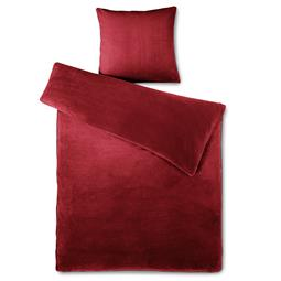 Bettwäsche Coral-Fleece Thermo Flausch Feelwell 135x200 uni bordeaux