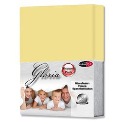 Spannbettlaken Microfaser Fleece Gloria Doppelpack creme gelb 160x200