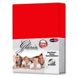 Spannbettlaken Microfaser Fleece Gloria Doppelpack rot 160x200