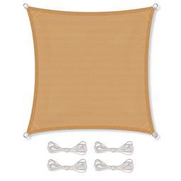 CelinaSun Sonnensegel HDPE atmungsaktiv inkl. Befestigungsseile BASIC Quadrat 2x2 sandbeige