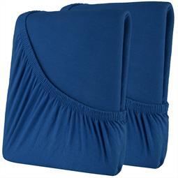 Spannbettlaken Baumwolle Doppelpack 140x200 High-Line dunkelblau