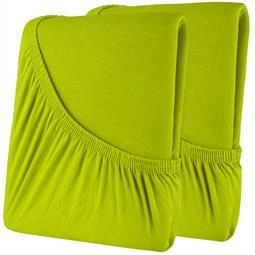 Spannbettlaken Baumwolle Doppelpack 160x200 High-Line hellgrün