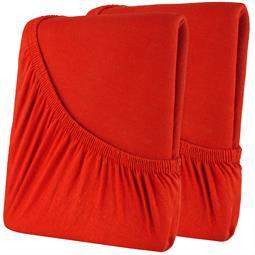 Spannbettlaken Baumwolle Doppelpack 160x200 High-Line rot
