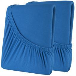 Spannbettlaken Baumwolle Doppelpack 60x120-70x140 High-Line royalblau