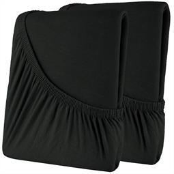 Spannbettlaken Baumwolle Doppelpack 90x200-100x200 High-Line schwarz