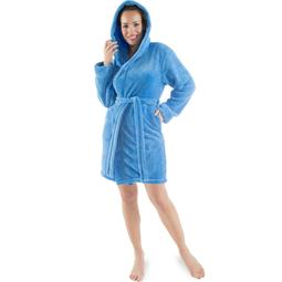 CelinaTex Bademantel Damen Sherpa Fleece Kapuze kurz flauschig Korfu XXXL blau