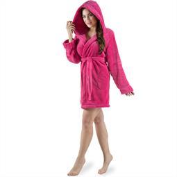 CelinaTex Bademantel Damen Sherpa Fleece Kapuze kurz flauschig Korfu XL pink