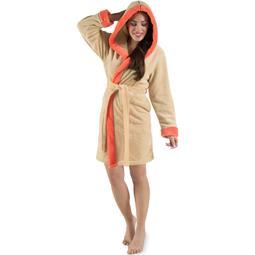 CelinaTex Bademantel Damen Sherpa Fleece Kapuze flauschig Kos M beige lachs