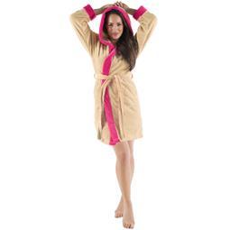 CelinaTex Bademantel Damen Sherpa Fleece Kapuze flauschig Kos XL beige pink