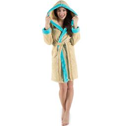 CelinaTex Bademantel Damen Sherpa Fleece Kapuze flauschig Kos M beige türkis