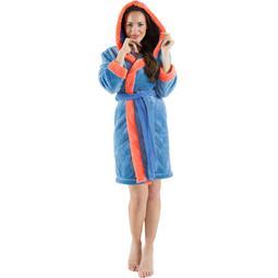 CelinaTex Bademantel Damen Sherpa Fleece Kapuze flauschig Kos S blau lachs