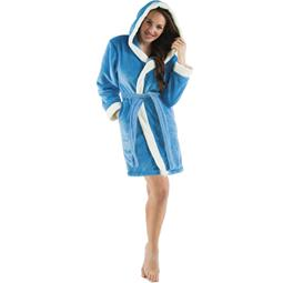 CelinaTex Bademantel Damen Sherpa Fleece Kapuze flauschig Kos S blau natur