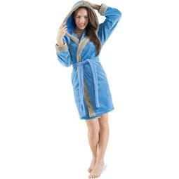 CelinaTex Bademantel Damen Sherpa Fleece Kapuze flauschig Kos S blau taupe