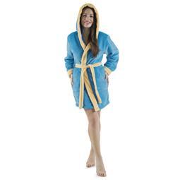 CelinaTex Bademantel Damen Sherpa Fleece Kapuze flauschig Kos XXL blau vanille