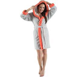 CelinaTex Bademantel Damen Sherpa Fleece Kapuze flauschig Kos L grau lachs