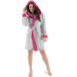 CelinaTex Bademantel Damen Sherpa Fleece Kapuze flauschig Kos M grau pink