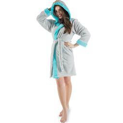 CelinaTex Bademantel Damen Sherpa Fleece Kapuze flauschig Kos M grau türkis