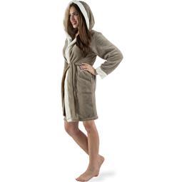 CelinaTex Bademantel Damen Sherpa Fleece Kapuze flauschig Kos XL taupe natur