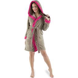 CelinaTex Bademantel Damen Sherpa Fleece Kapuze flauschig Kos M taupe pink