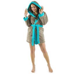 CelinaTex Bademantel Damen Sherpa Fleece Kapuze flauschig Kos M taupe türkis