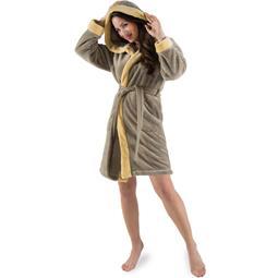 CelinaTex Bademantel Damen Sherpa Fleece Kapuze flauschig Kos M taupe vanille