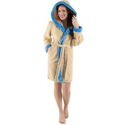 CelinaTex Bademantel Damen Sherpa Fleece Kapuze flauschig Kos L beige blau