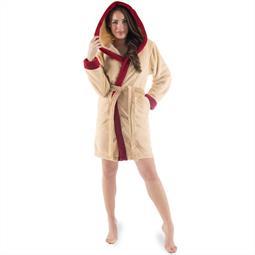 CelinaTex Bademantel Damen Sherpa Fleece Kapuze flauschig Kos L beige bordeaux