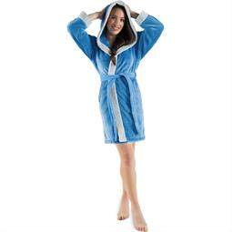 CelinaTex Bademantel Damen Sherpa Fleece Kapuze flauschig Kos M blau grau