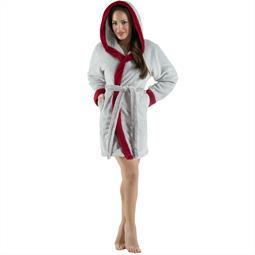 CelinaTex Bademantel Damen Sherpa Fleece Kapuze flauschig Kos L grau bordeaux