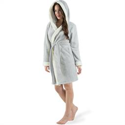 CelinaTex Bademantel Damen Sherpa Fleece Kapuze flauschig Kos M grau natur