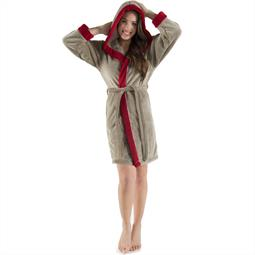 CelinaTex Bademantel Damen Sherpa Fleece Kapuze flauschig Kos XL taupe bordeaux
