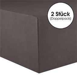 CelinaTex Spannbettlaken Baumwolle Lucina Doppelpack 140x200-160x200 anthrazit