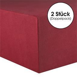 CelinaTex Spannbettlaken Baumwolle Lucina Doppelpack 90x200-100x200 bordeaux rot
