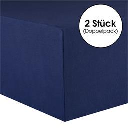 CelinaTex Spannbettlaken Baumwolle Lucina Doppelpack 90x200-100x200 dunkelblau