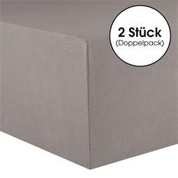 CelinaTex Spannbettlaken Baumwolle Lucina Doppelpack 90x200-100x200 dunkelgrau