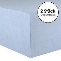 Kinder Spannbettlaken Baumwolle Lucina Minis Doppelpack 60x120-70x140 aquablau