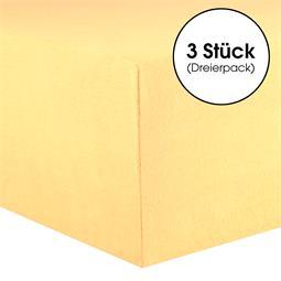 Kinder Spannbettlaken Baumwolle Lucina Minis Dreierpack 60x120-70x140 cremegelb