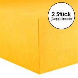 Kinder Spannbettlaken Baumwolle Lucina Minis Doppelpack 60x120-70x140 maisgelb