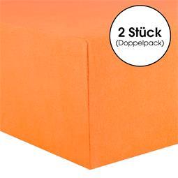 Kinder Spannbettlaken Baumwolle Lucina Minis Doppelpack 60x120-70x140 orange
