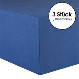 Kinder Spannbettlaken Baumwolle Lucina Minis Dreierpack 60x120-70x140 royalblau