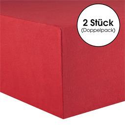 CelinaTex Spannbettlaken Baumwolle Lucina Doppelpack 90x200-100x200 rubinrot