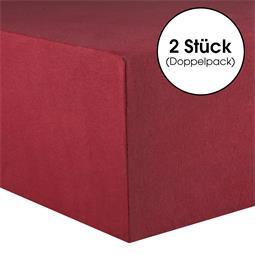 CelinaTex Spannbettlaken Baumwolle Lucina Doppelpack 140x200-160x200 bordeaux rot