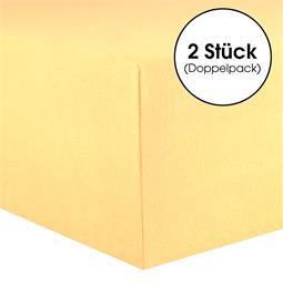 CelinaTex Spannbettlaken Baumwolle Lucina Doppelpack 90x200-100x200 cremegelb