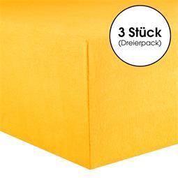CelinaTex Kinder Spannbettlaken Baumwolle Lucina Minis Dreierpack 60x120-70x140 maisgelb