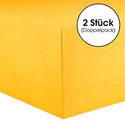 CelinaTex Spannbettlaken Baumwolle Lucina Doppelpack 140x200-160x200 maisgelb