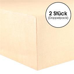 CelinaTex Spannbettlaken Baumwolle Lucina Doppelpack 90x200-100x200 natur