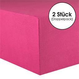 CelinaTex Spannbettlaken Baumwolle Lucina Doppelpack 140x200-160x200 pink